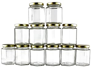 6-Ounce Hexagon Glass Jars (12-Pack); Empty Hex Jars w/Gold Lids for Party Favors, Jams, Samples & More