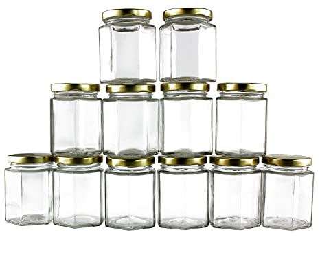 352ffeeef1ad 6-Ounce Hexagon Glass Jars (12-Pack); Empty Hex Jars w/Gold Lids for Party  Favors, Jams, Samples & More