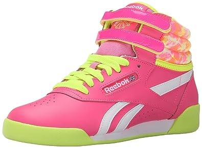 Reebok Freestyle Hi Classic Shoe (Little Kid/Big Kid), Solar Pink/