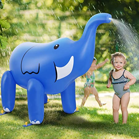 DG-Direct Elephant Sprinkler for Kids, 6 Feet Giant Inflatable Summer Water Toys Swimming Party Pool Play Sprayer for Boys Girls Outdoor Lawn Beach Yard-Blue