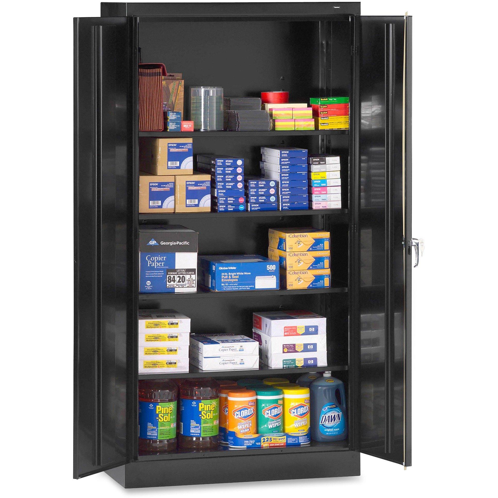 Tennsco 7218 24 Gauge Steel Standard Welded Storage Cabinet, 4 Shelves, 150 lbs Capacity per Shelf, 36'' Width x 72'' Height x 18'' Depth, Black