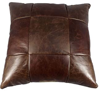 "product image for Saving Shepherd Amish Leather 9 Patch Quilt Pillow - 15"" Exquisite Look & Feel and Handmade in USA"