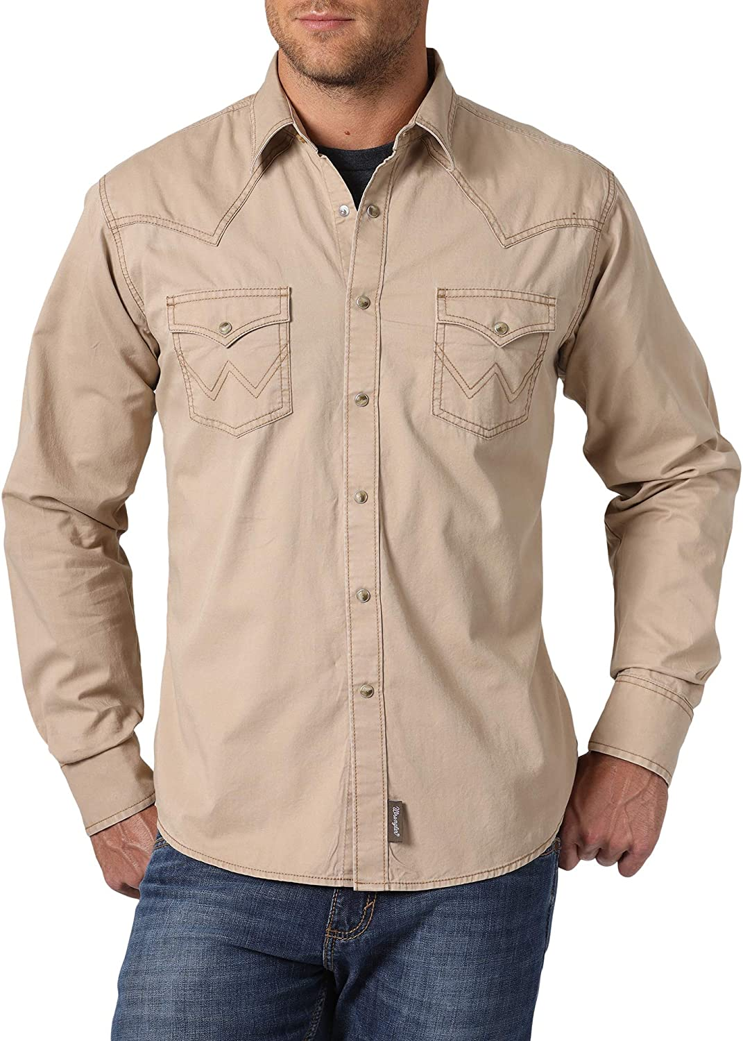 Wrangler Men's Retro Two Pocket Long Sleeve Snap Shirt