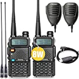 Ham Radio Walkie Talkie UV-5R Pro 8-Watt Dual Band Two Way Radio with Ham Radio Handheld Speaker Mic and NA-771 Antenna…