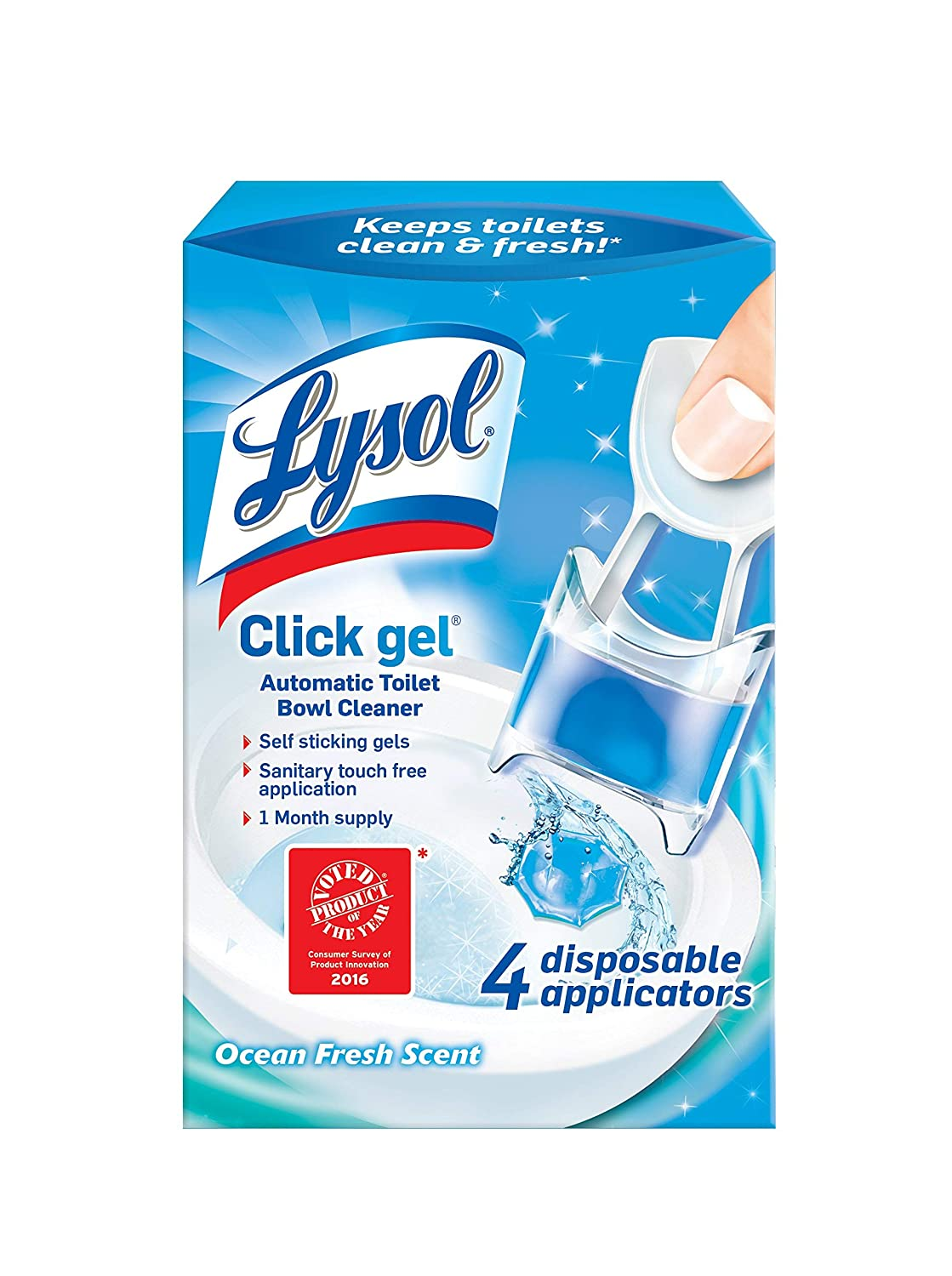 Lysol Click Gel Automatic Toilet Bowl Cleaner, Ocean Fresh, 4ct, Packaging May Vary