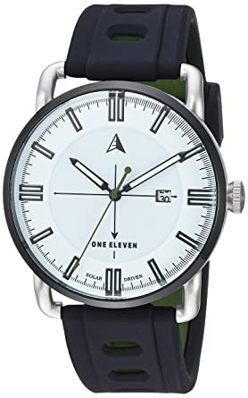 One Eleven Mens SW1 Solar Quartz Stainless Steel and Silicone Casual Watch, Color