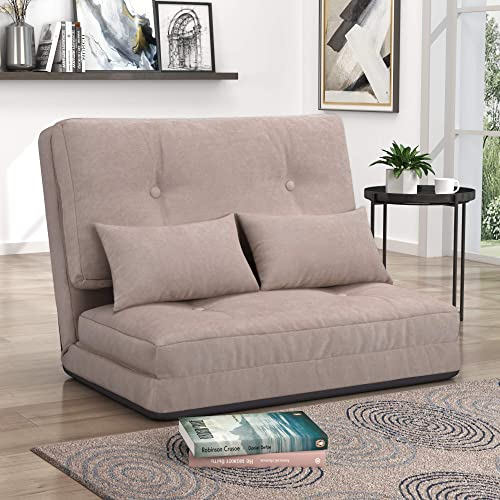 Sofa Bed, Adjustable Folding Futon Sofa Bed, Video Gaming Sofa Lounge with Pillows, Light Brown
