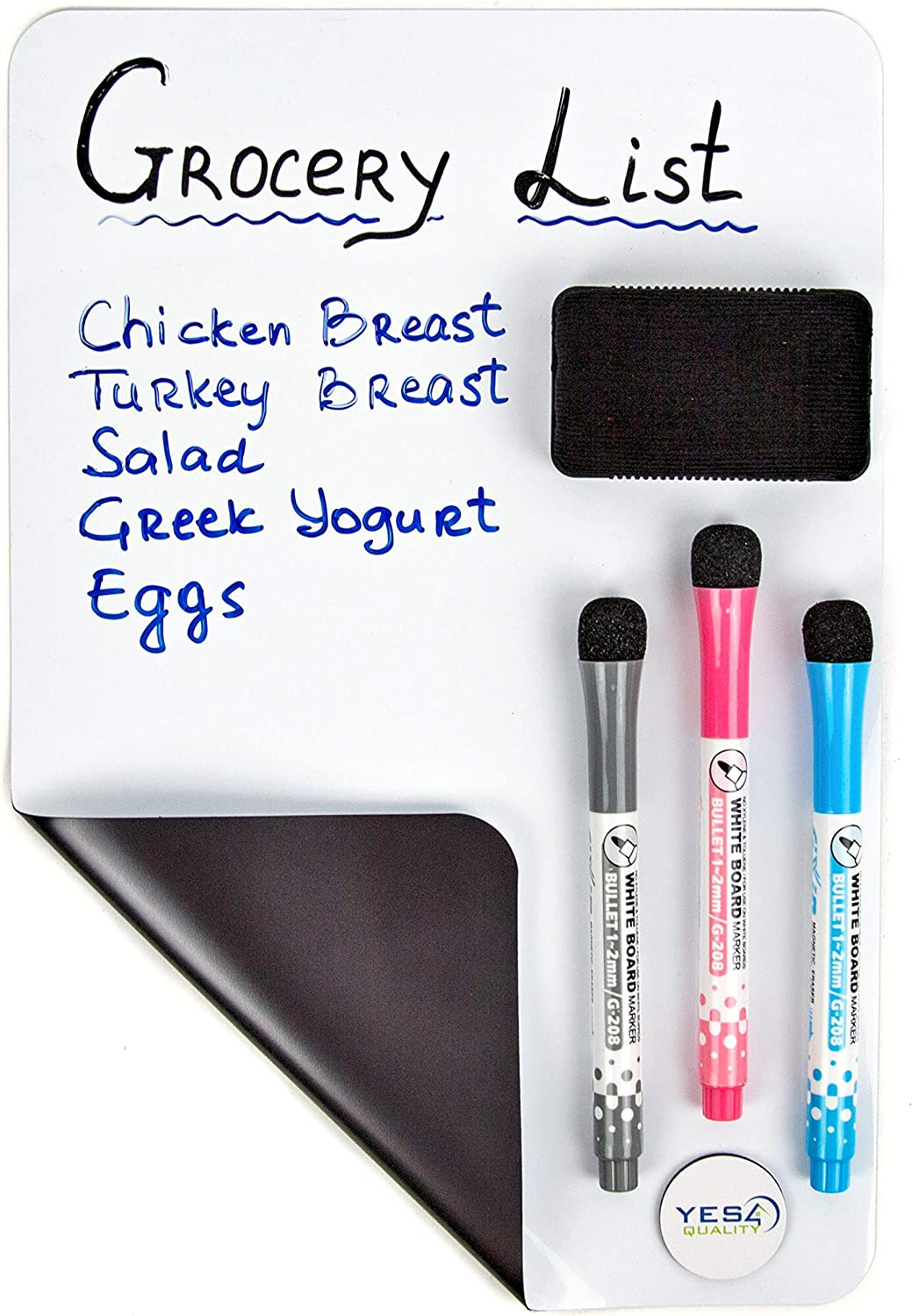 Magnetic Dry Erase White Board Sheet for Fridge 12x8 in - with Stain Resistant Technology - Includes 3 Markers and Big Eraser with Magnets - Small Refrigerator Whiteboard Planner & Organizer