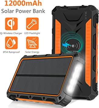 SOXONO Solar Charger,16000mAh Solar Power Bank with Qi Wireless Charger and 2-USB Port Ultra Portable Phone Charger Power Bank External Battery Pack with 15 LEDs Flashlight for iPhone,iPad,Samsung