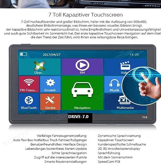 TMC wohmobil Deutsche No Comercial China gratuita Map Update Radar 7/Pulgadas GPS Navi y Tablet con DVR C/ámara para camiones Android 4.4 512/MB BT Front AV IN WiFi coches