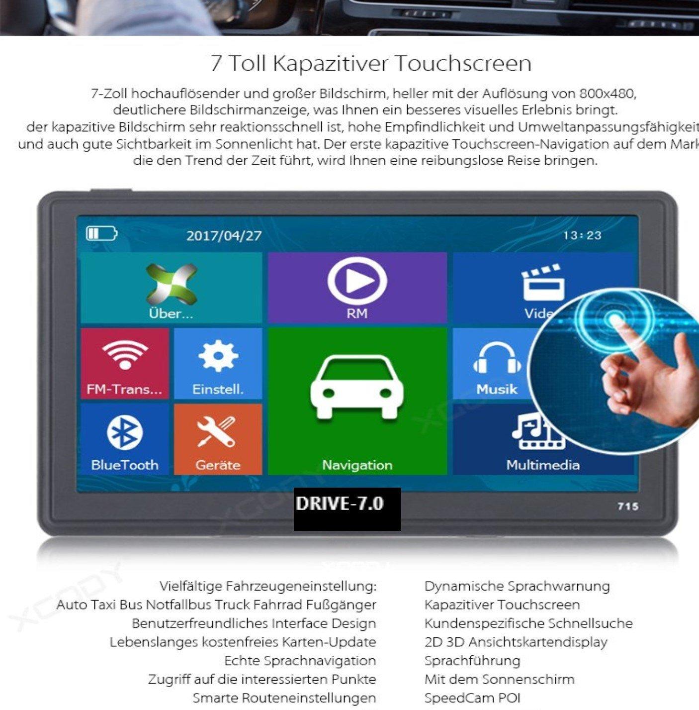 7 Zoll GPS Navigationssysteme Navi Drive-7.0 fü r LKW,PKW,Wohnmobil, Bus. 256MB. Kapazitiver Touchscreen. DEUTSCHE HÄ NDLER. Radarwarner, Kostenlos Update, 8GB. Gratis Sonnenblende DRIVE-TECH