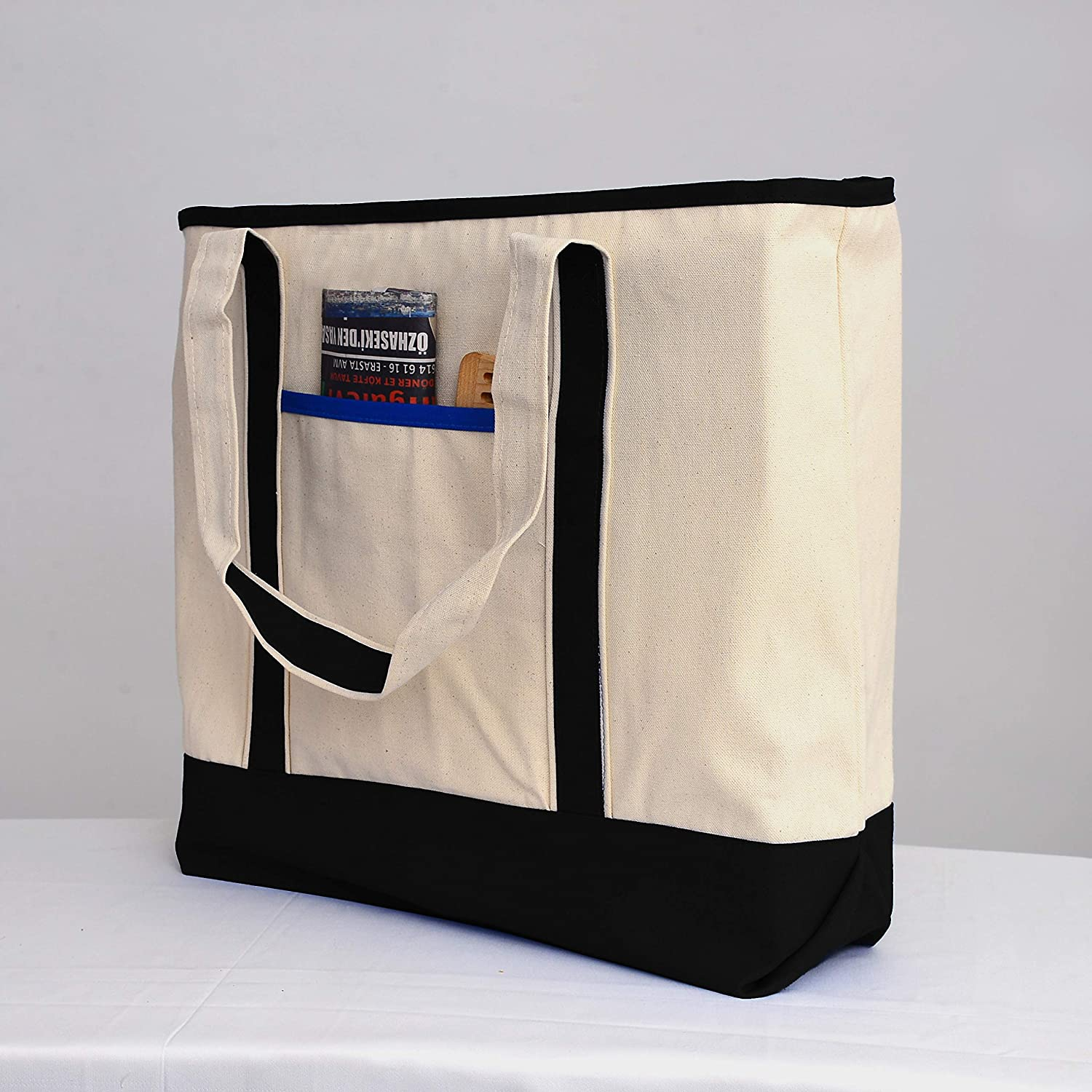 "22/"" Large Zippered Boat Tote Canvas Reusable Grocery Shopping Carry On Store Bag"