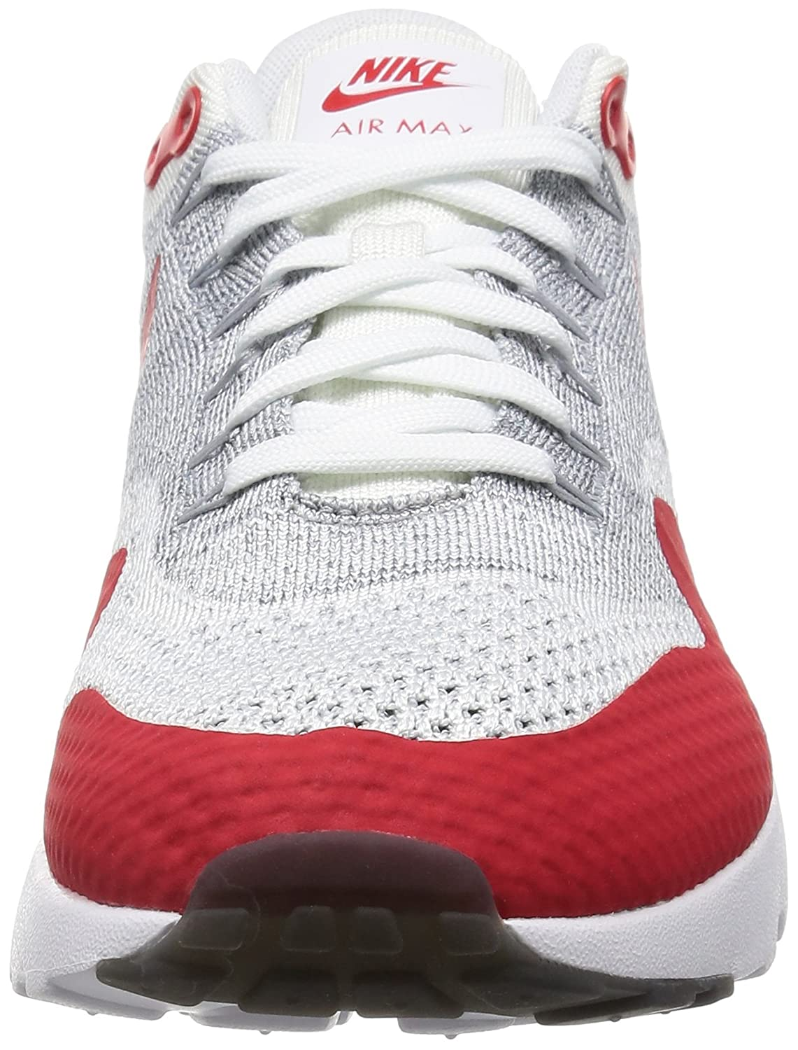 quality design 870d1 1bb03 Amazon.com   Nike Mens Air Max 1 Ultra Flyknit White University Red Woven  Size 8   Shoes