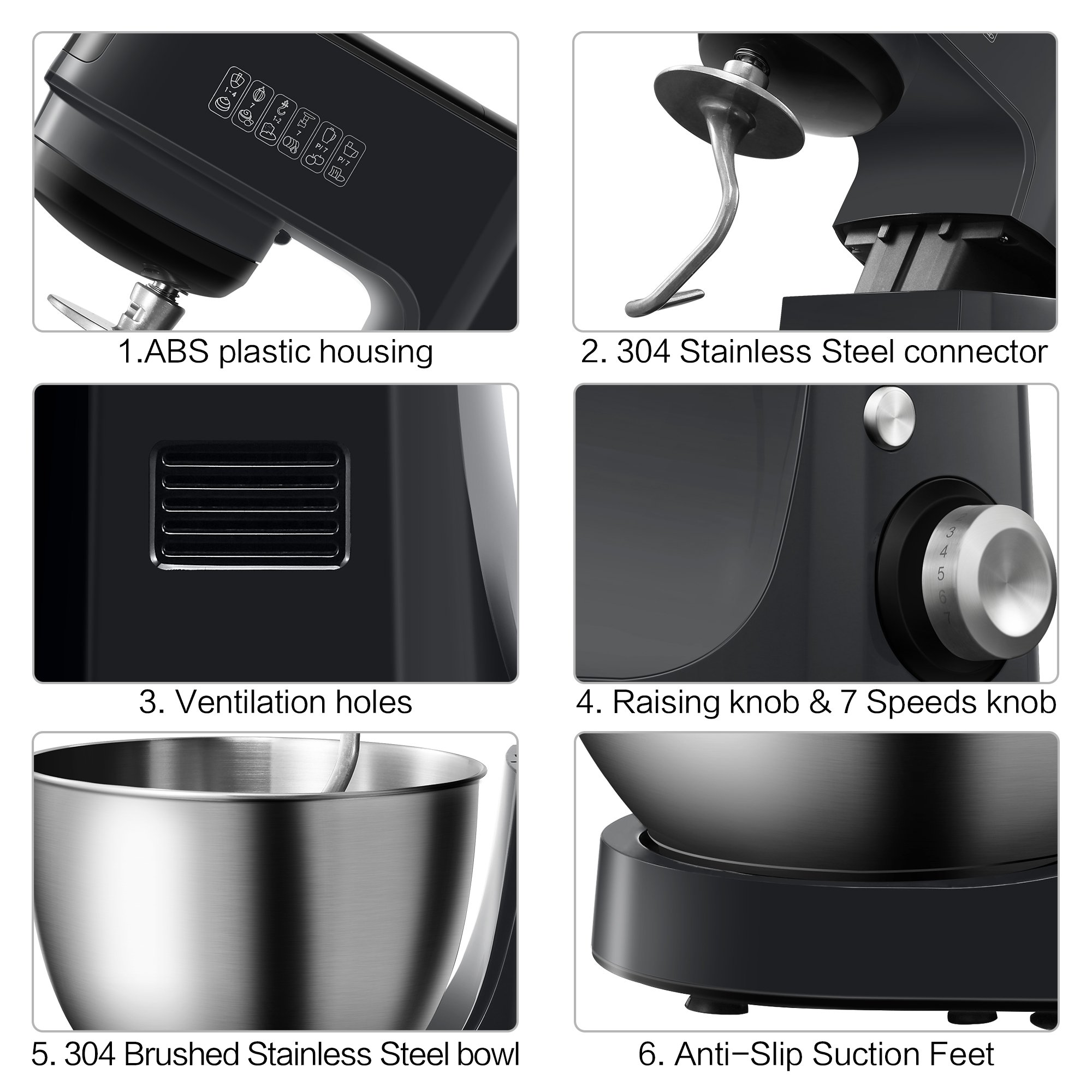 Comfee 4.75Qt 7-in-1 Multi Functions Tilt-Head ABS housing Stand Mixer with SUS Mixing Bowl. 4 Outlets with 7 Speeds & Pulse Control and 15 Minutes Timer Planetary Mixer ¡ by COMFEE' (Image #5)