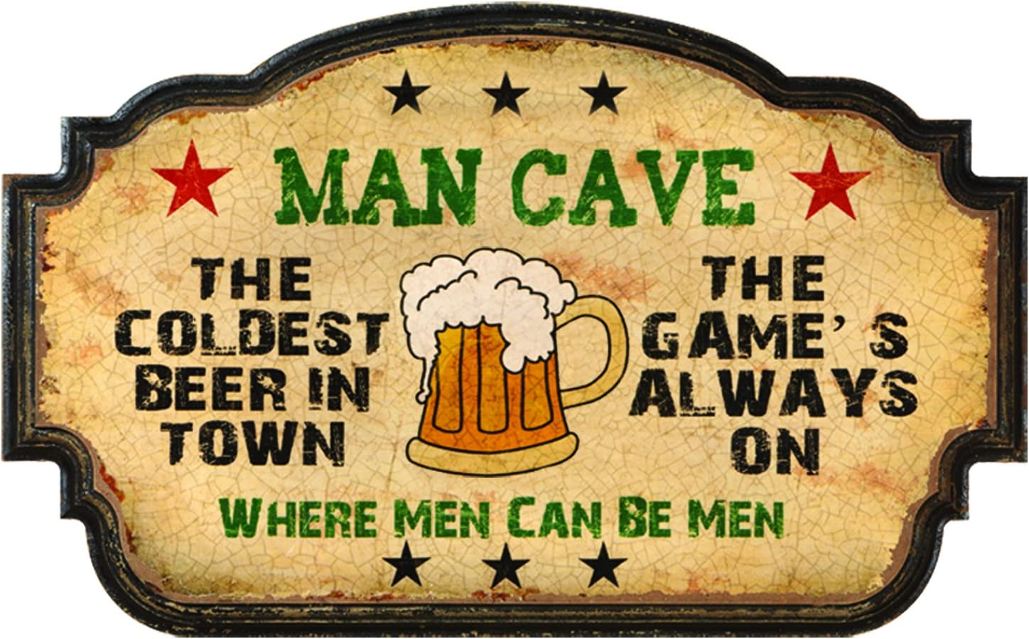 Amazon Com Ram Gameroom Man Cave Coldest Beer In Town Wall Art Sports Outdoors