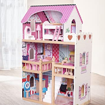 MiniDream Kids Wooden Dollhouse 3 Storey With 17PCS Furnitures Couture  Dolls House