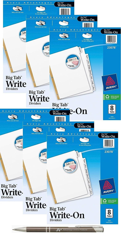 6 Pack of 8 Tabs Avery Big Tab Write /& Erase Dividers with Bonus AdvantageOP Custom Retractable Pen 23078