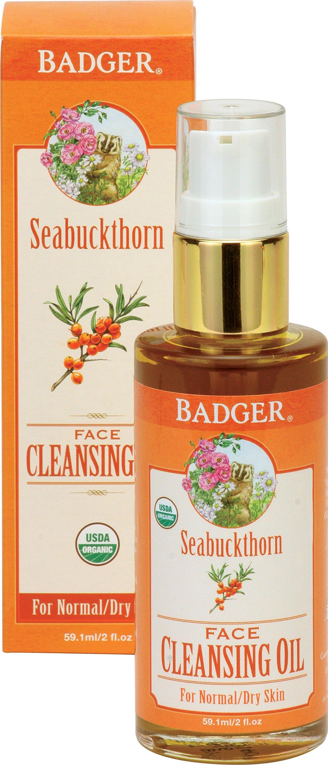 Badger Seabuckthorn Face Cleansing Oil - 2 fl oz Glass Bottle