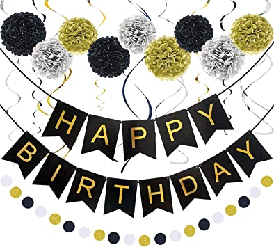 Amazon Com Birthday Decorations Black And Gold Birthday Decorations For Men Happy Birthday Banner Pom Poms Flowers Paper Dot Garland Hanging Swirl For Boys Or All Birthday Decoration Home Kitchen
