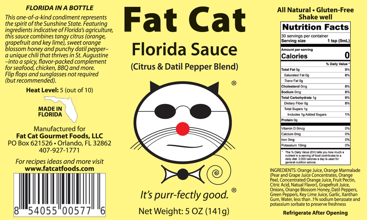 Amazon.com : Fat Cat - Florida Sauce: Citrus and Datil Pepper Blend Hot Sauce sold by Fat Cat Gourmet Foods : Grocery & Gourmet Food