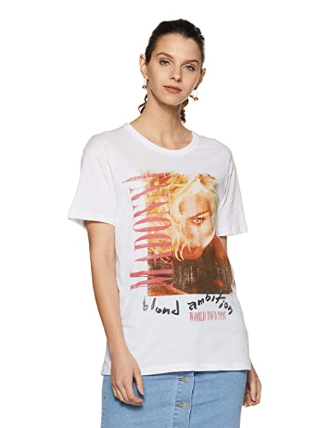 d2ebe3ed4 Forever 21 Women's Madonna Graphic Tour Tee Logo 217427, Small, WHITE/RED:  Amazon.in: Clothing & Accessories