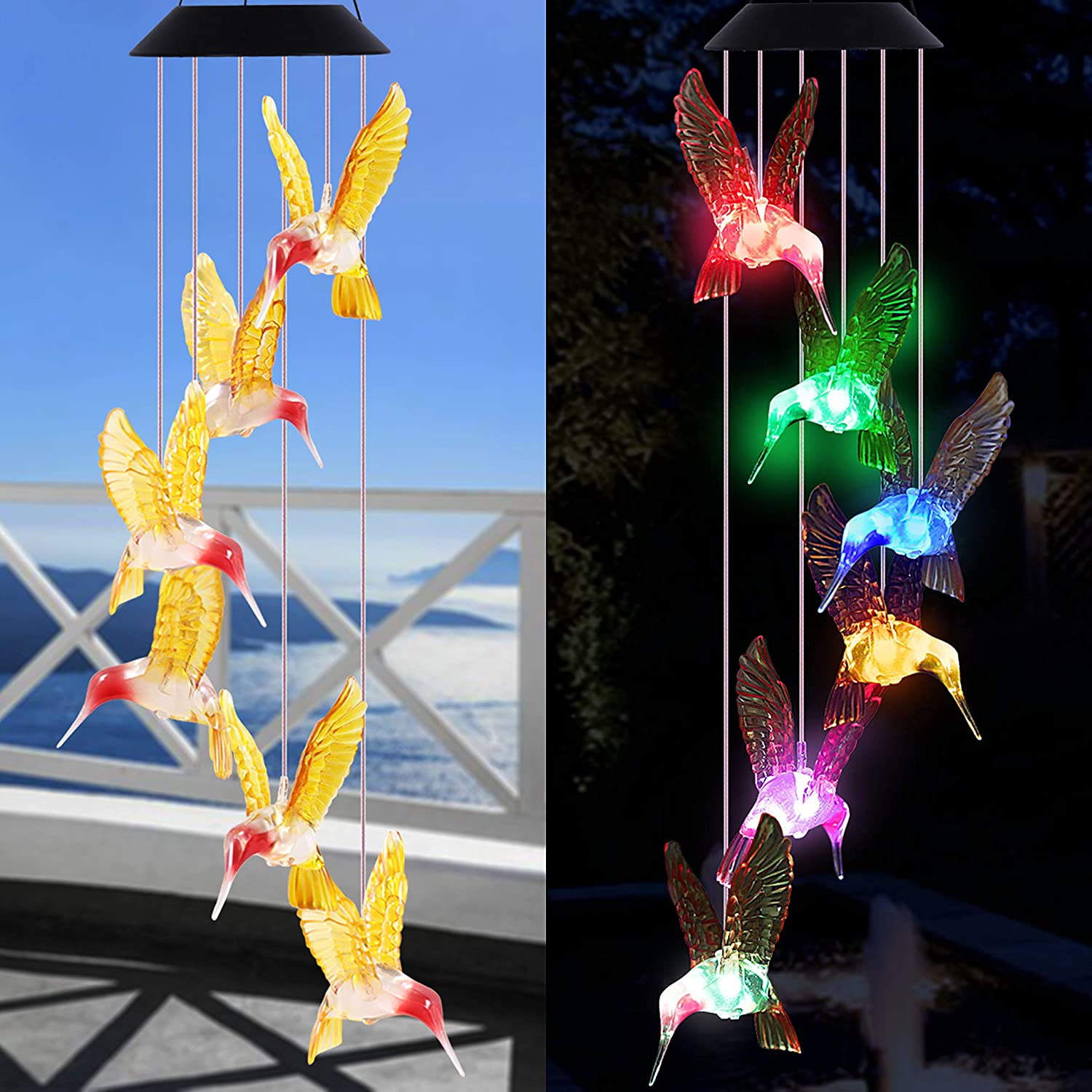 Solar Hummingbird Wind Chimes Outdoor Decor - Waterproof Solar Powered LED Changing Light Color Hummingbirds Mobile Romantic Wind Chime for Home, Patio, Festival, Garden Decoration, Xmas Gift for Mom
