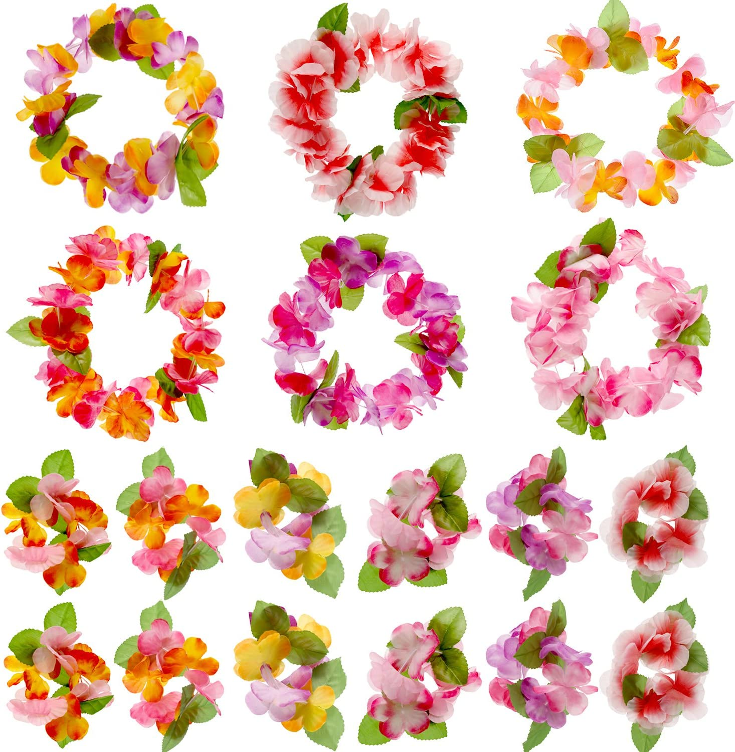 Jovitec 54 Pack Luau Tropical Hawaiian Headband Floral Leis Headband and Wristband for Costume Party Decoration Supplies, 6 Colors