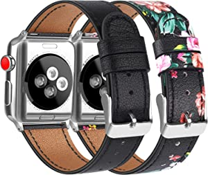 [2 Pack] Leather Bands Compatible with Apple Watch Bands 40mm 38mm for Women Men, Soft Leather Straps for iWatch SE & Series 6, Series 5, Series 4, Series 3, Series 2, Series 1, Black & Flower Red