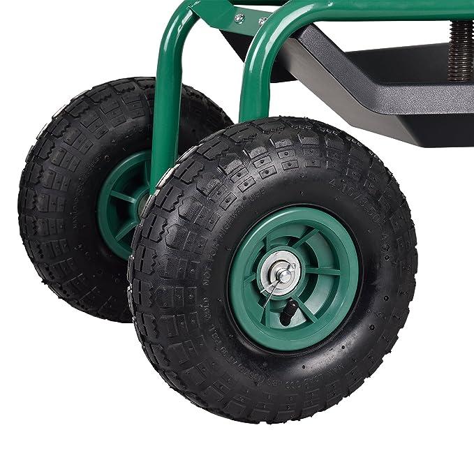 [pro.tec] Asiento móvil para trabajar en jardín scooter [verde] carrito con ruedas para jardín roll altura regulable: Amazon.es: Hogar