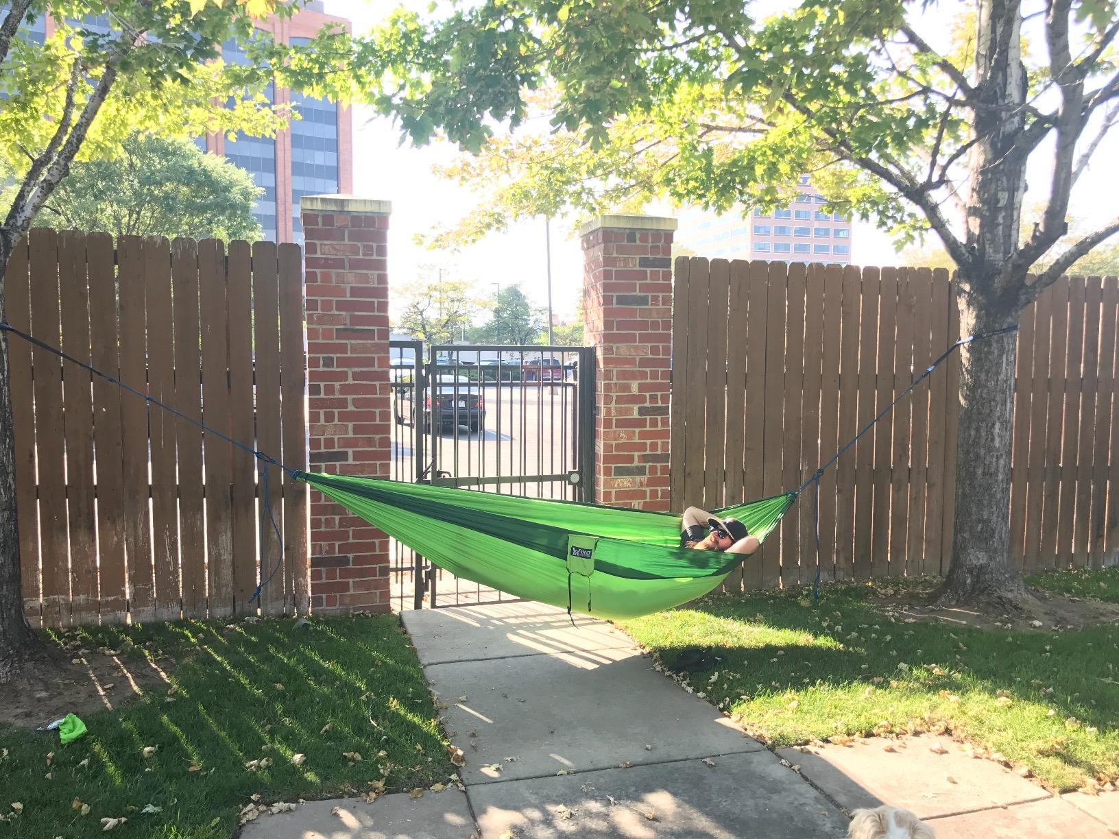 Hammock is made of quality material. Straps seem rugged enough to hang around any tree