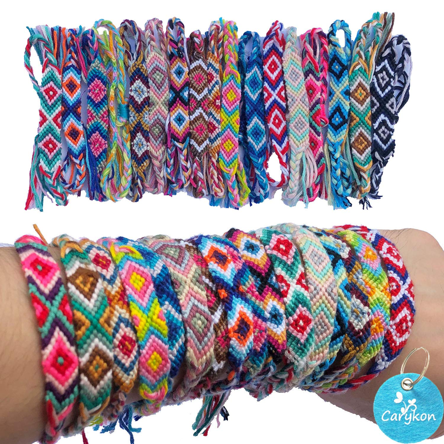 Carykon 12 PCS Nepal Woven Friendship Bracelets with a Sliding Knot Closure for Women Teens and Girls, Color May Vary by Carykon
