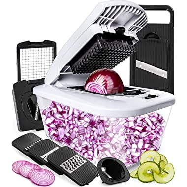 Fullstar Vegetable Chopper Mandoline Slicer with Large Glass Container - Spiralizer Vegetable Slicer Dicer - Onion Chopper Food Chopper - Veggie Chopper Vegetable