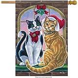 Carson Mistletoe Cats House Flag