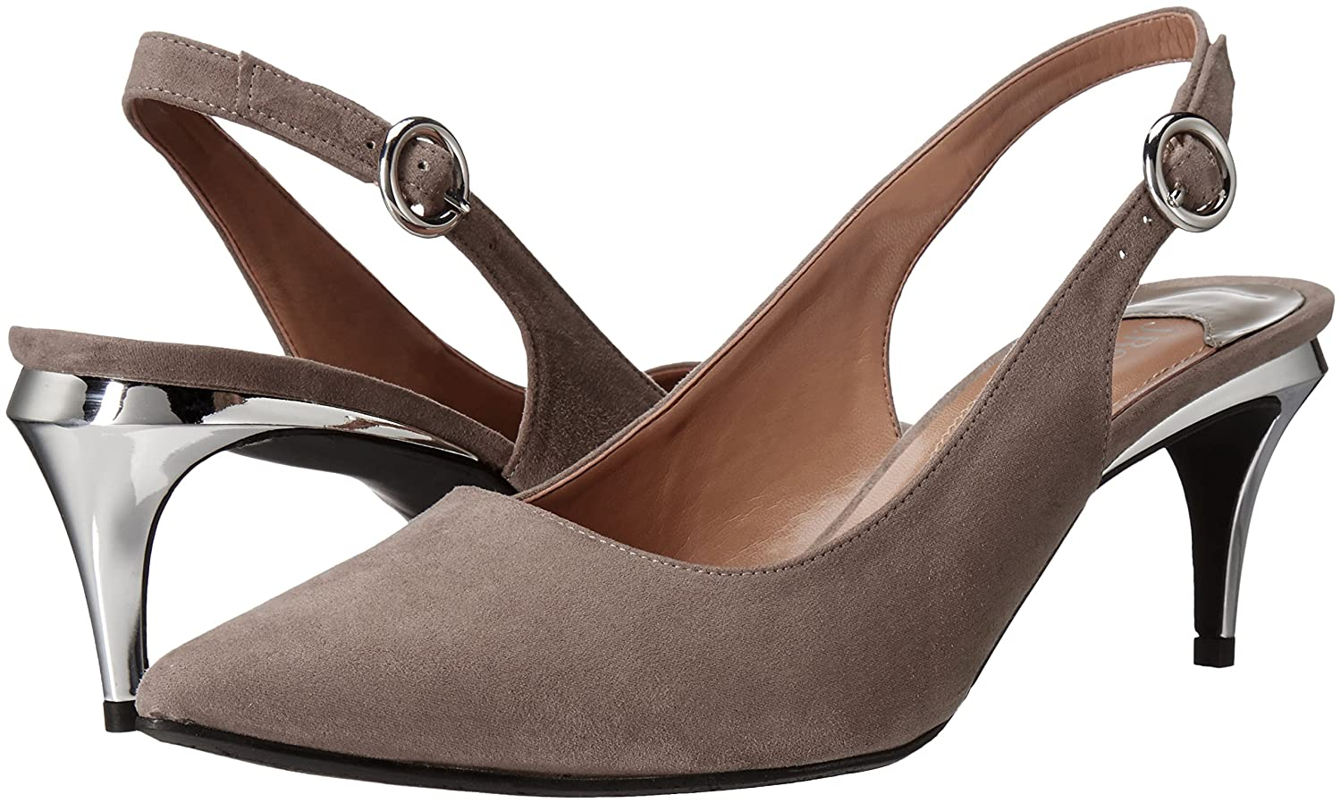 J.Renee Women's Pearla Dress Pump B01INJK1XU 7 W US|Gray Suede