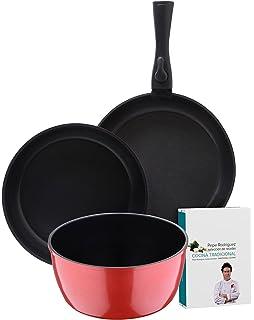 Bergner Click&Cook Batería de Cocina con Mango Desmontable, Aluminio Forjado, Red, ...