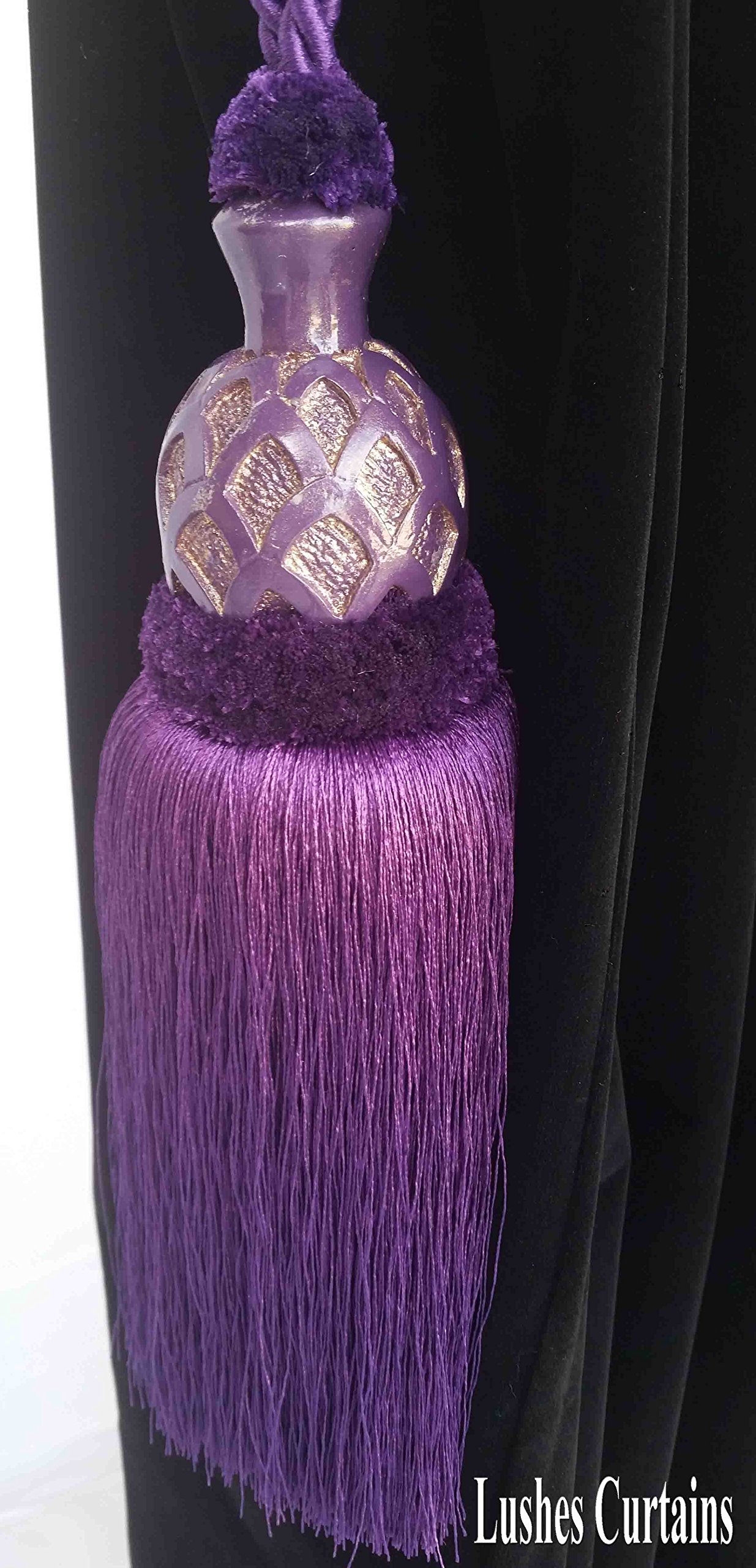 1 Luxury Handmade Purple Color w/Wood Single Tassel Rope Tie Back Window Treatment Curtain Drapery Vintage Look 2 Spread Cord Holdback Decor Tieback/Pull Back by Lushes Curtains (Image #1)