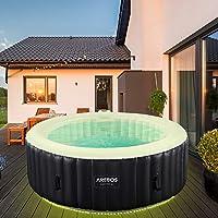 Arebos Whirlpool Santorini   automatisch opblaasbaar   In & Outdoor   6 personen   LED lichtband   130 massagejets…
