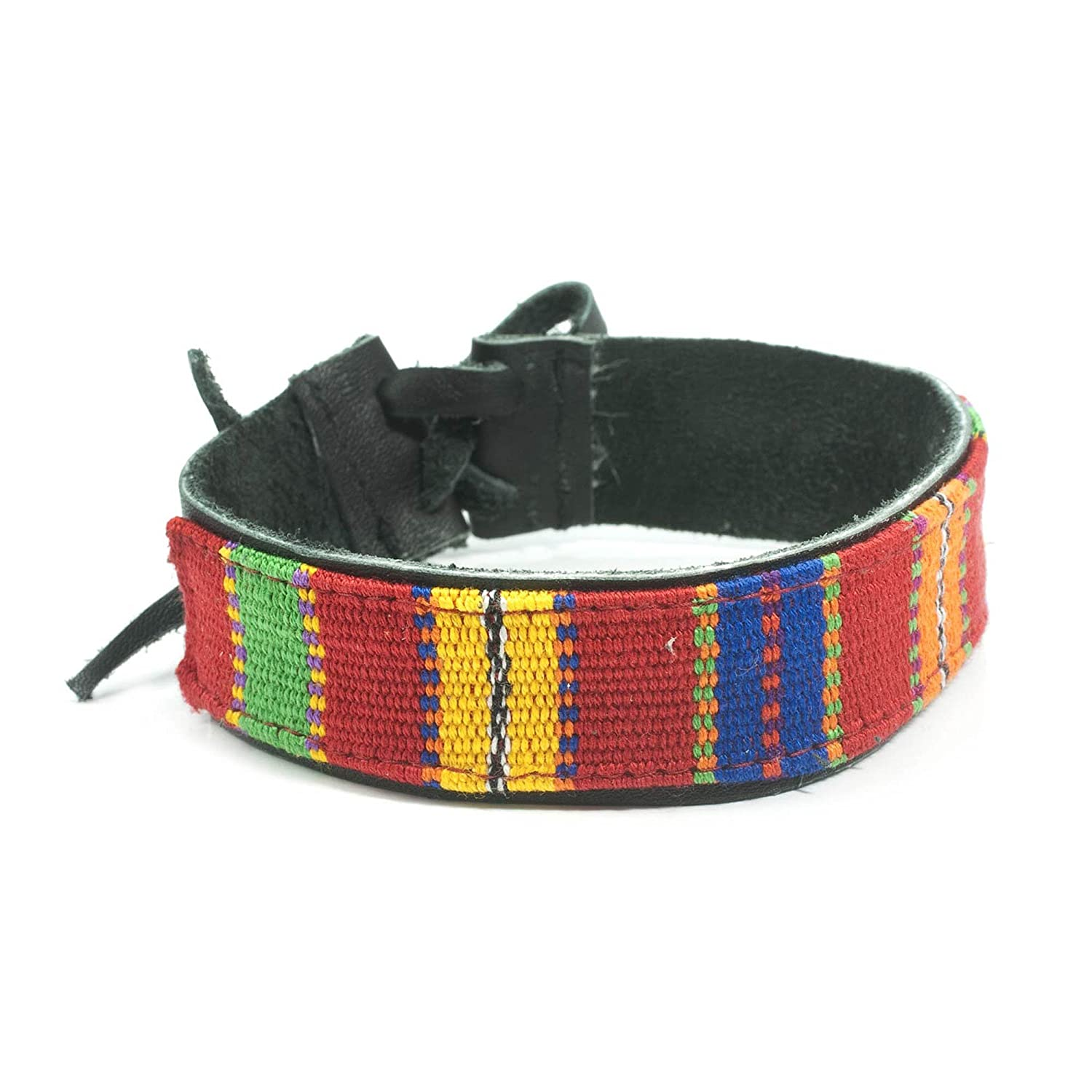 """NOVICA Woven Cotton and Leather Men's Wristband Bracelet with Tie Closure, 8.5"""", 'Maya Toucan'"""