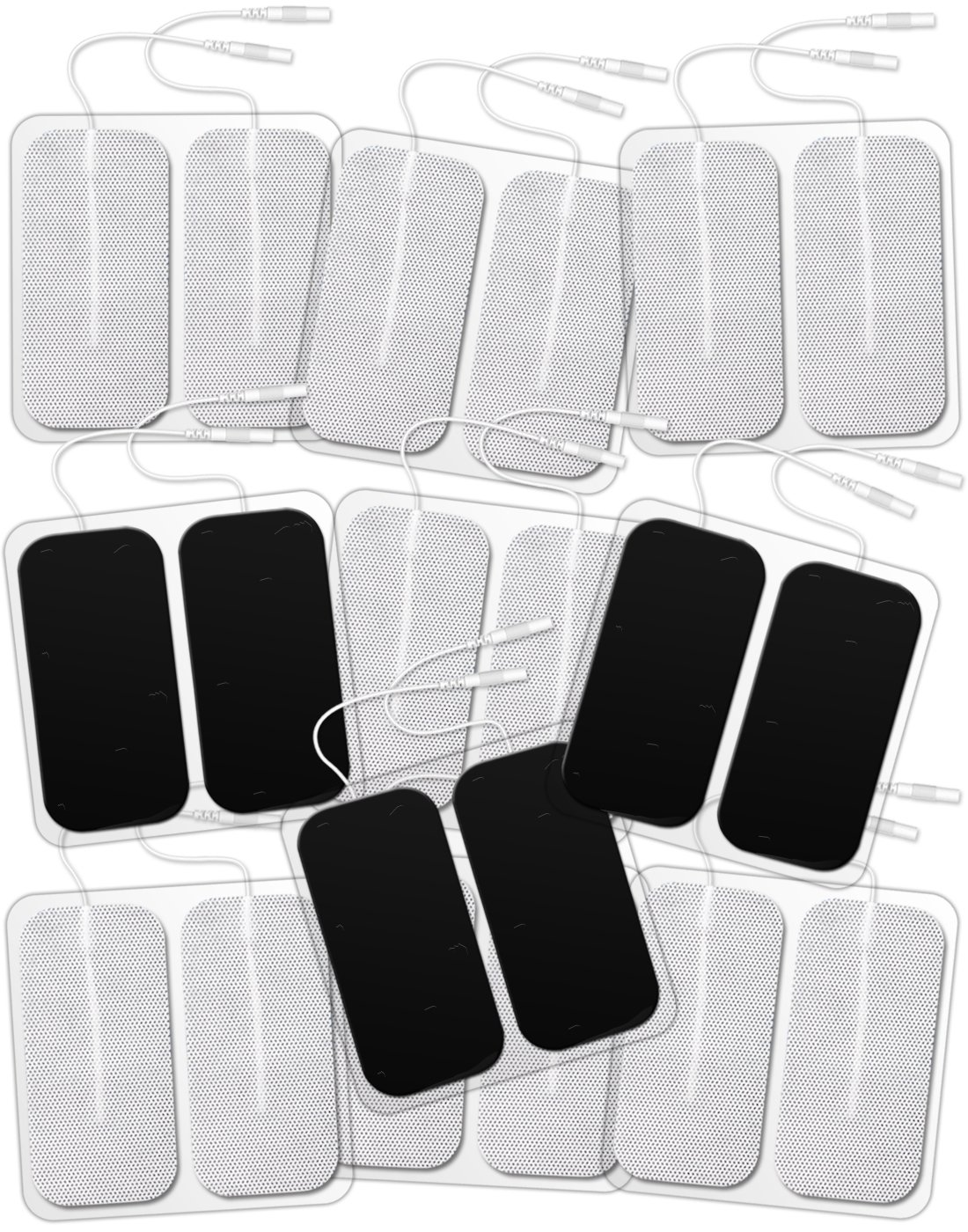 """DONECO TENS Unit Electrodes 2""""x4"""" Rectangular 20-Pack Electrode Pads for TENS Therapy - Self-Adhering, Reusable and Premium Quality"""