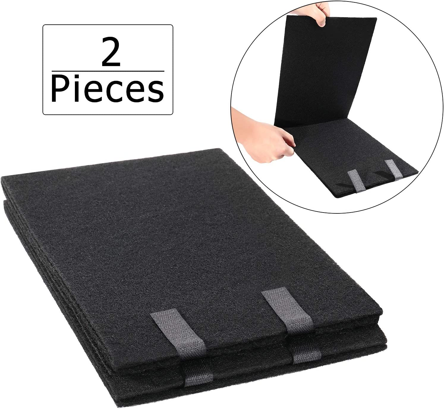 2 Packs Universal Activated Carbon Filters 47.8 x 8 Inch Cut to Fit Replacement Carbon Air Filter Black Carbon Pad Filter Sheet for Air Purifiers Air Conditioner