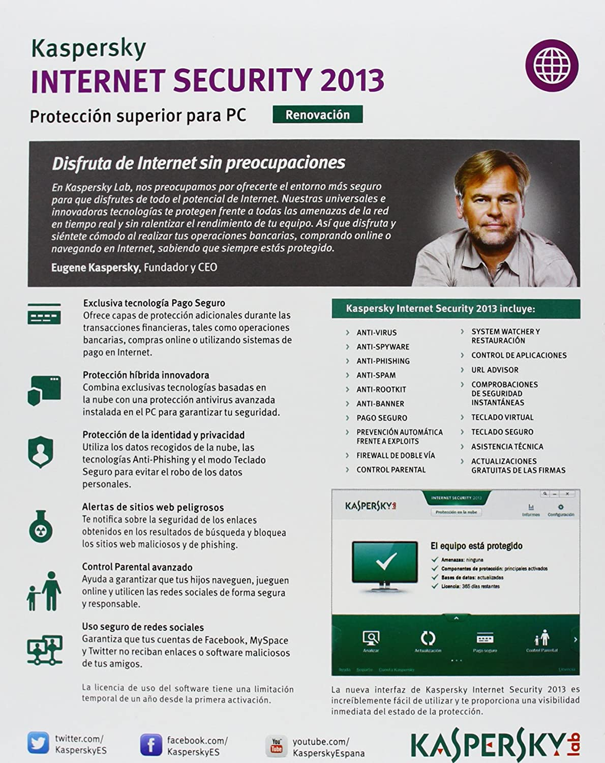 Kaspersky Internet Security 2013 - Paquete, Español, 3 Licencias Renovación, 1 Año: Amazon.es: Software
