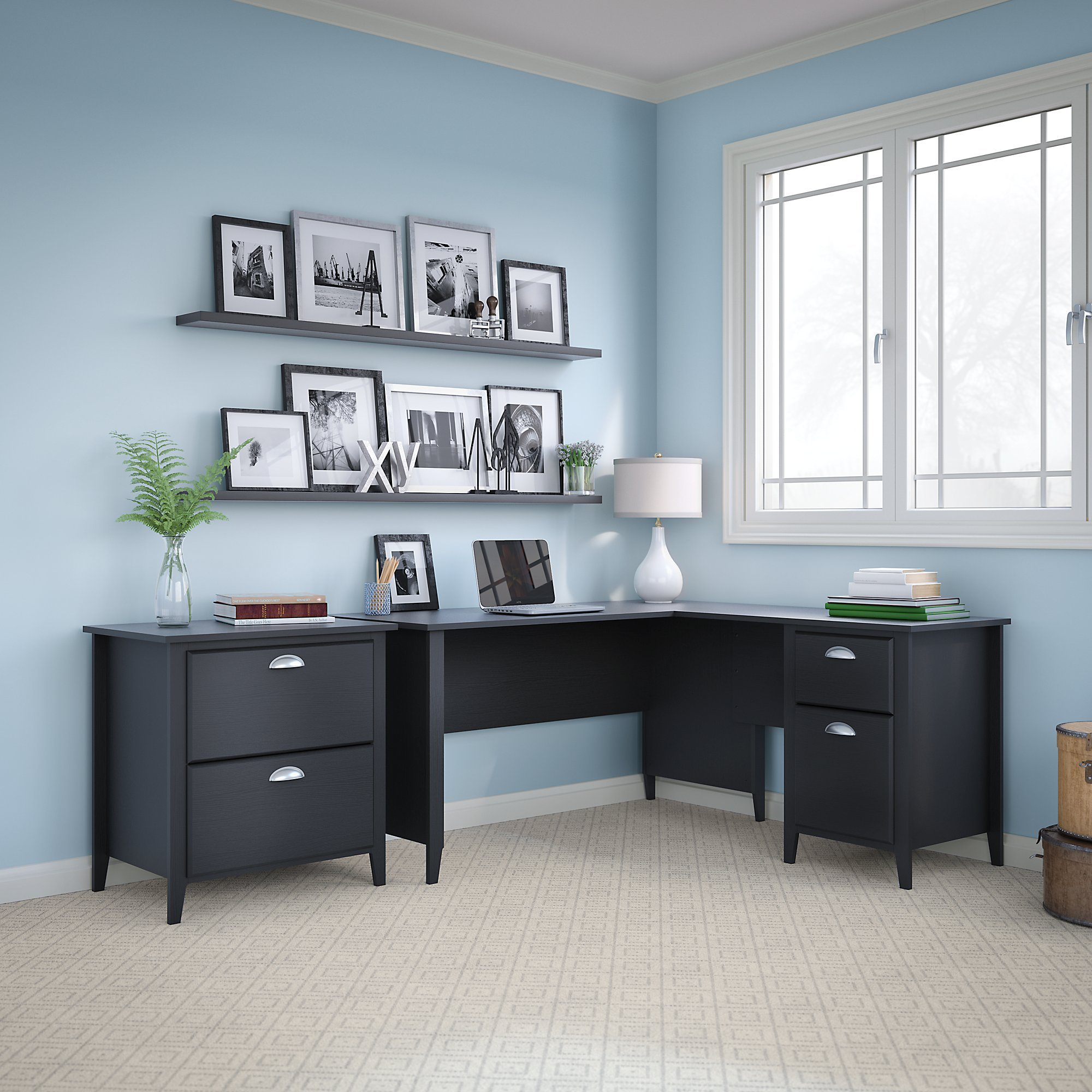 kathy ireland Home by Bush Furniture Connecticut 60W L Desk and Lateral File in Black Suede Oak