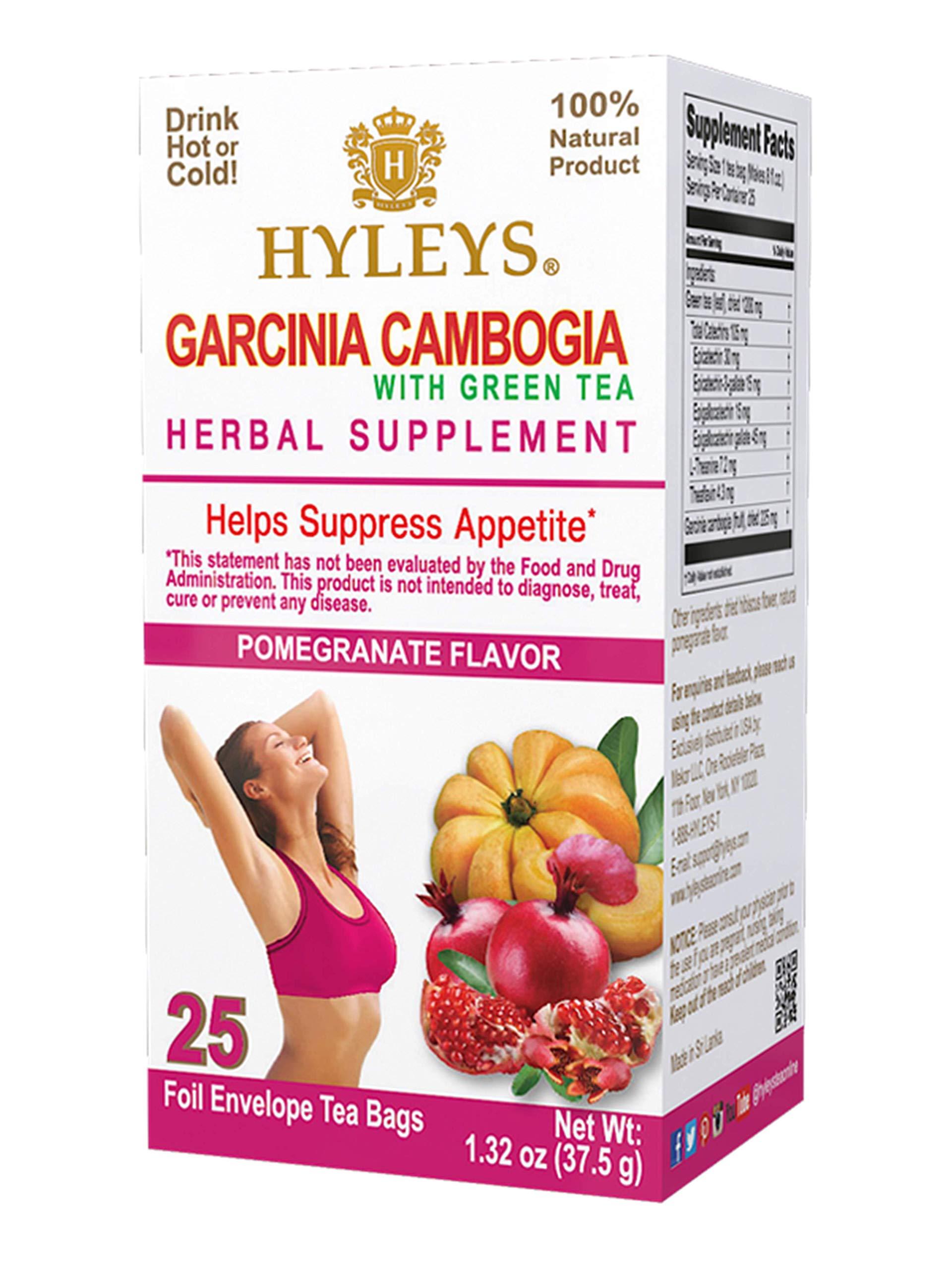 HYLEYS Tea Wellness Garcinia Cambogia Green Tea Pomegranate - 25 bags (100% Natural, Sugar Free, Gluten Free and Non GMO), Pomegranate, 25.0 Count