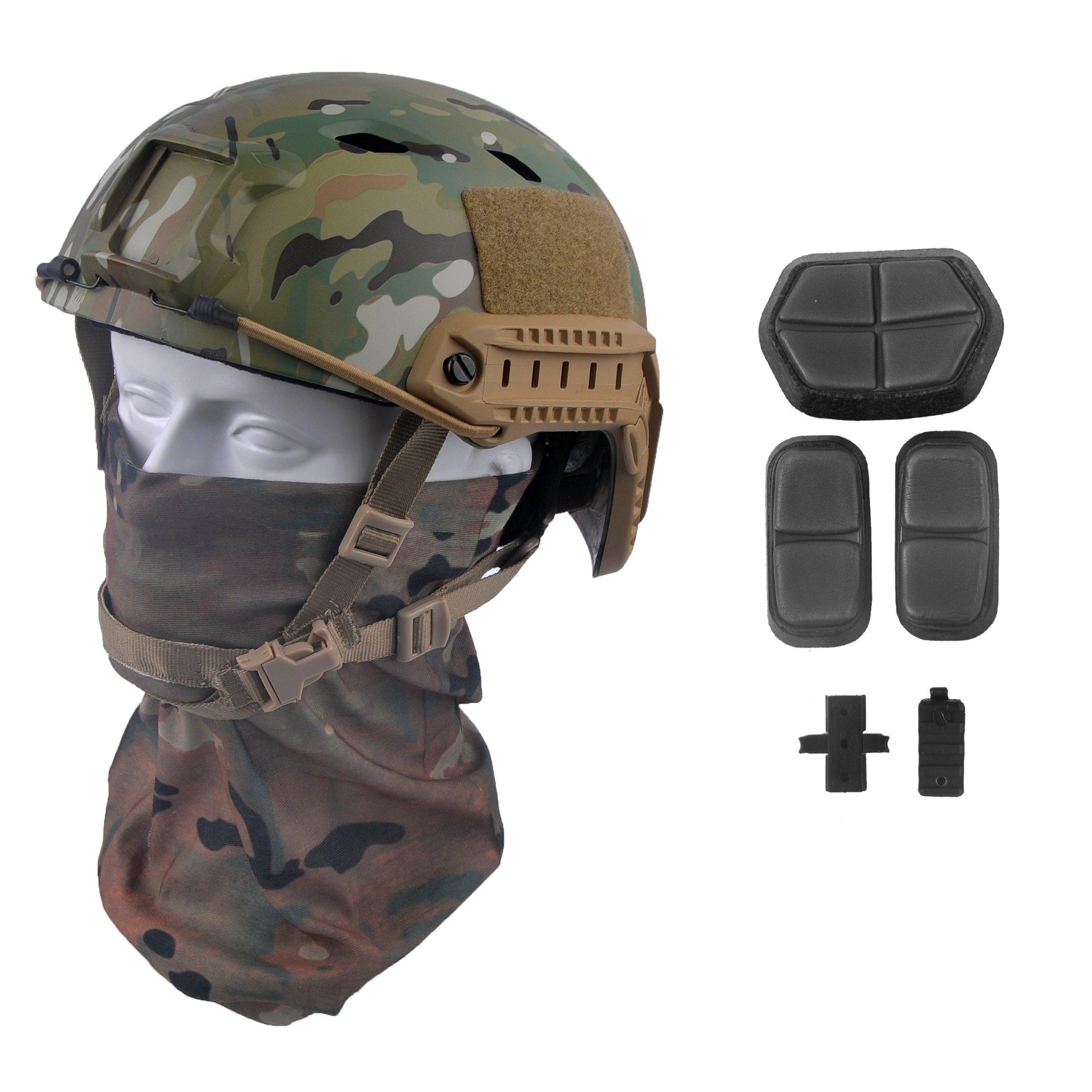 LOOGU Fast BJ Base Jump Military Helmet with 12-in-1 Headwear (MC) by LOOGU