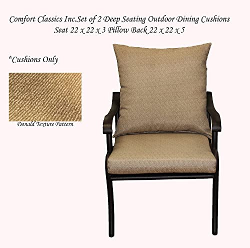 Comfort Classics Inc. Outdoor Deep Seating Set of 2 Outdoor Dining Chair Cushion Set of 2 Pillow 22 W x 22 L x 5 T Seat 22 W x 22 L x 3 T in Donald Texture Pattern