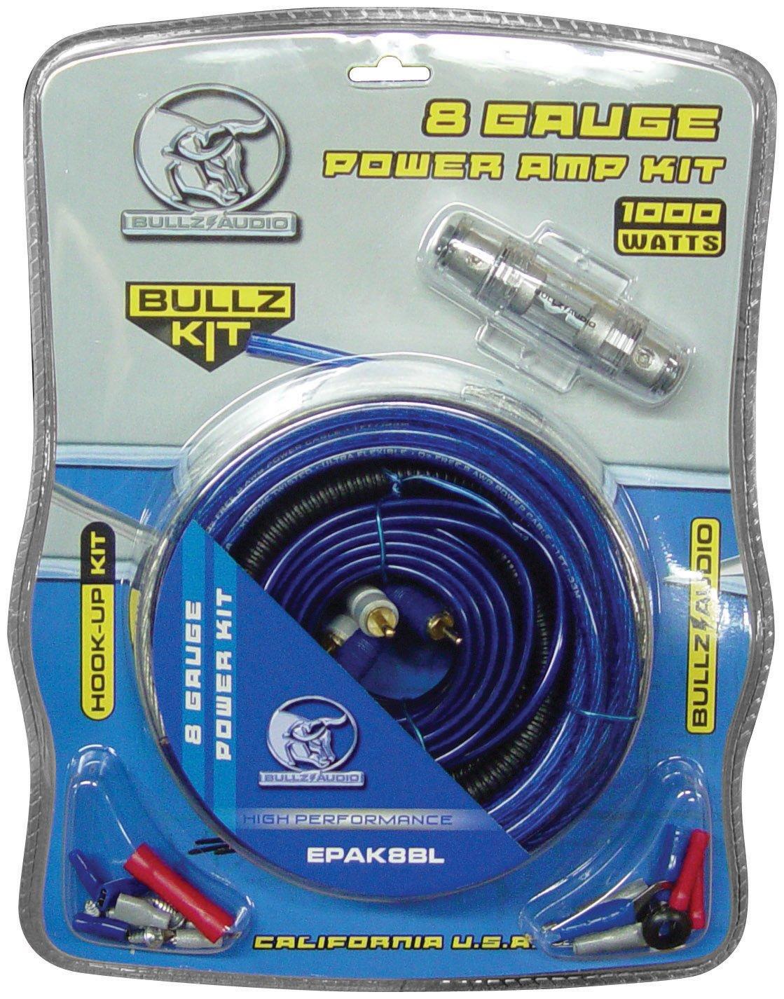 Audio Epak8bl 8 Gauge Amplifier Amp Wiring Kit Installation Cable Bullz 4 Car Sub Power Install Amazon Com Xscorpion With
