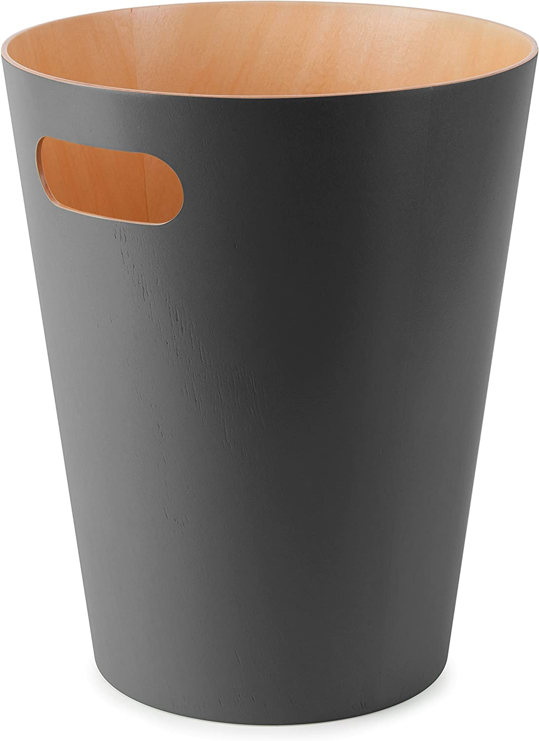 Umbra, Charcoal Woodrow, 2 Gallon Modern Wooden Trash Can Wastebasket or Recycling Bin for Home or Office