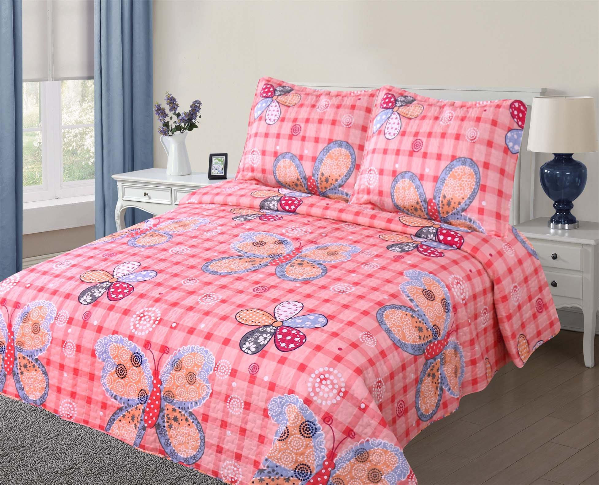 Golden Linens full Size (1 Quilt, 2 Shams) Pink Butterfly Kids Teens/Girls Quilt Bedspread 11-16 Girls