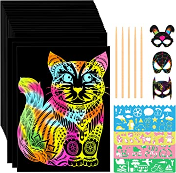 Amazon Com Let S Go Gifts For 4 12 Year Old Girls Boys 60 Sheets Scratch Art For Kids Arts And Crafts For Kids Ages 6 12 Christmas Birthday Gifts For 6 10 Year Old Girls Boys