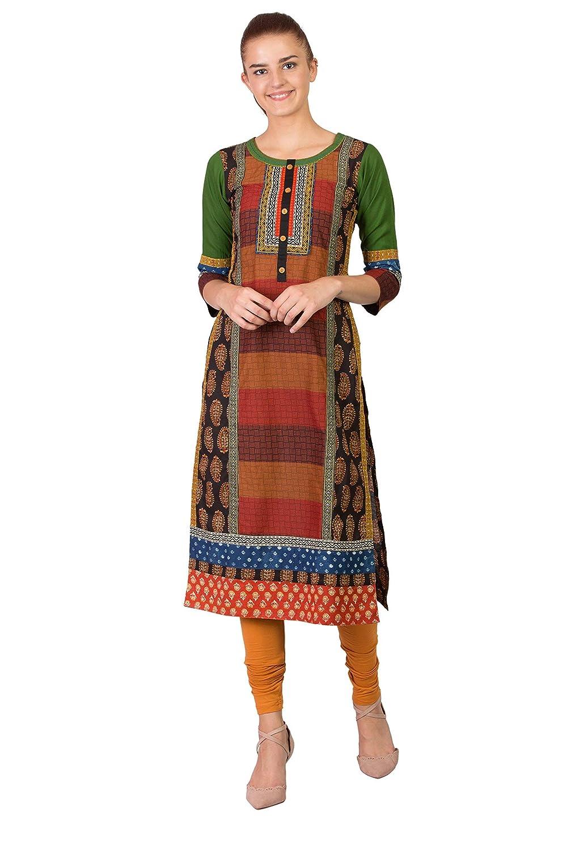 Multicolour Mix SABHYATA Women's Kurta 100% Pure Cotton Kurti Women Tunic Casual Long Multicoloured Dress